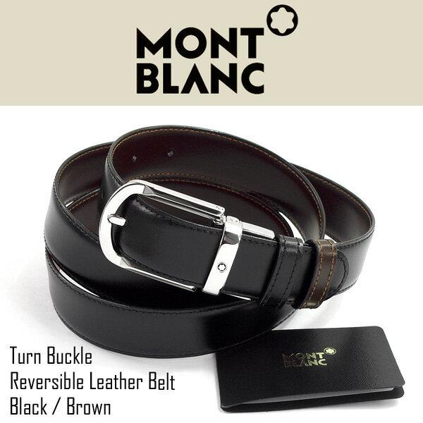 【MONTBLANC】モンブラン リバーシブル メンズ ブラック×ブラウン レザーベルト MB-111080
