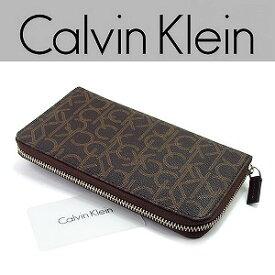 bb229b75c545 【Calvin Klein】カルバンクライン メンズ レディース 長財布 ラウンドファスナー レザー ウォレット ブラウン ブランド