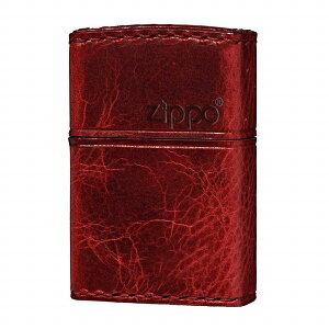 【ZIPPO】ジッポー オイルライター REAL LEATHER HAND MADE 革巻き カワマキ ヨコロゴ 本牛革 ダメージレッド RD-5【ネコポス不可】