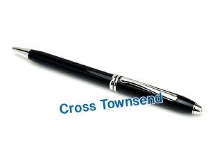 クロスタウンゼント ブラックラッカー ロジウムプレート ボールペン AT0042-4
