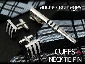 andre courreges アンドレ・クレージュ ネクタイピン&カフスセット ブラック×ホワイト ボーダー CT4001A-CC6001A