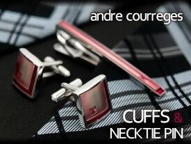 andre courreges アンドレ・クレージュ ネクタイピン&カフスセット ピンク×レッド CT4002B-CC6002B