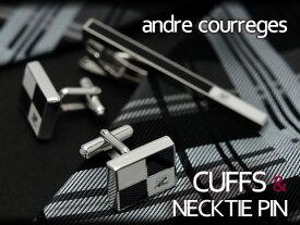 andre courreges アンドレ・クレージュ ネクタイピン&カフスセット ブラック×ホワイト CT4004B-CC6004B