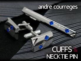 andre courreges アンドレ・クレージュ おしゃれ ネクタイピン&カフスセット スワロフスキー 長方形 シルバー×ブルー ACT4006-ACC8006