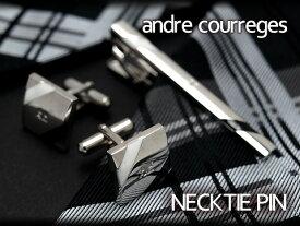 【andre courreges】アンドレ・クレージュ ネクタイピン ブラック×ホワイト ボーダー CT4005A 【セットではありません】