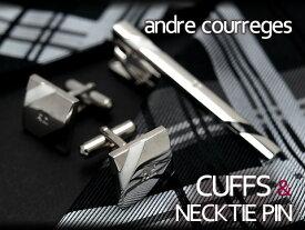 andre courreges アンドレ・クレージュ ネクタイピン&カフスセット ブラック×ホワイト ボーダー CT4005A-CC6005A