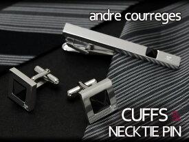 andre courreges アンドレ・クレージュ ネクタイピン&カフスセット マットブラック スワロフスキー CT4011-CC6011