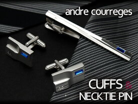 andre courreges アンドレ・クレージュ ネクタイピン&カフスセット ブルー スワロフスキー CT4012-CC6012