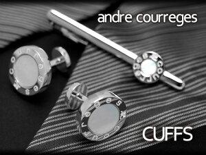【andre courreges】アンドレ・クレージュ カフス 丸型スナップ式 シェル シルバー×ホワイト ACC12002 【セットではありません】