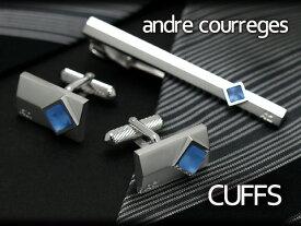 【andre courreges】アンドレ・クレージュ カフス 長方形 スワロフスキー シルバー×ブルー ACC8008 【セットではありません】