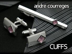 【andre courreges】アンドレ・クレージュ カフス 長方形 スワロフスキー シルバー×ピンク ACC8009 【セットではありません】