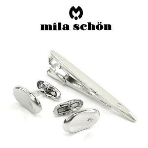 【mila schon】ミラショーン カフス ネクタイピンセット 専用ボックス付き ロジウムメッキ MST5369-MSC10369