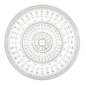 【全円分度器 12cm型 1-822-0000】360度計測できる分度器※ネコポス便可能[ウチダ]
