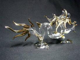 クリスタル 龍 (小) 全長約11.5cm<風水グッズ・開運グッズ・幸運の置物>ハンドメイド:宝玉を咥えた金色に輝くクリスタル龍の置物・辰年の干支グッズ 龍 置物 クリスタル 龍の置物