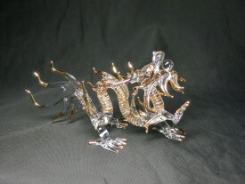 クリスタル 龍 (大)<風水グッズ・開運グッズ・幸運の置物>5本指の龍 最上位の皇帝龍 ☆ ハンドメイド:宝玉を咥えた金色に輝くクリスタル龍の置物・辰年の干支グッズ 龍 置物 龍の置物 クリスタル龍 クリスタルドラゴン