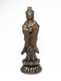 【送料無料】 銅製 聖観音菩薩像 立像 < 仏像 開運置物 幸運置物 > 観世音菩薩像 観自在菩薩像 聖観音 観音