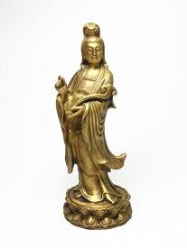 銅製 如意 聖観音菩薩像 立像 蓮華型台座【送料無料】< 仏像 開運置物 幸運置物 > 観世音菩薩像 観自在菩薩像 聖観音 観音様