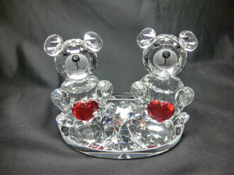 Bear dear (heart) bear raise of wages sun catcher made by a crystal