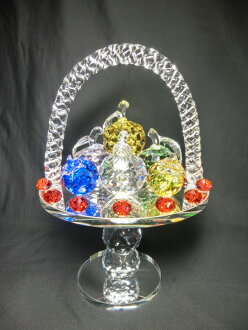 Interior of the fruit basket (with a handle) sun catcher <good luck made by a crystal >Handmade ... crystal fruit plate fruit plate fruit