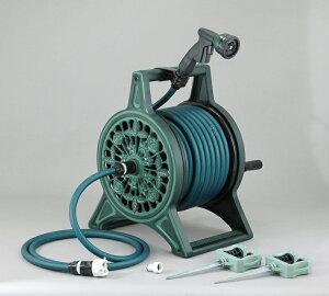 ブロンズリール 30m グリーン 三洋化成 ホースリール 英国ガーデン風デザインの本格派 アルミ鋳物製