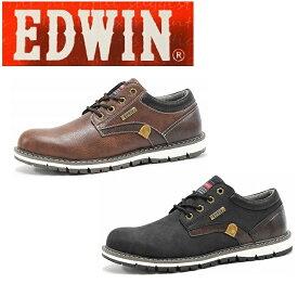 EDWIN エドウィン防水プレーンシューズ ブラック ブラウン EDW7920