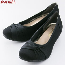 フットスキ footsuki 婦人靴 レディース ローヒール パンプス 3E ブラックサテン 黒 FS-15340 | 22.5cm〜24.5cm ぺたんこ 3.5cm 幅広 ゆとり やわらかい バレエシューズ おしゃれ お出かけ 母趾にやさしい アシックス商事