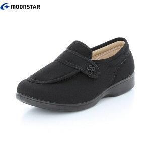 らくらく レディース 介護 シューズ L001 3E 22cm 25cm ブラック L001-black | 婦人靴 リハビリ 軽量 撥水 つまずき防止 ムーンスター MOONSTAR