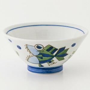 砥部焼 大西陶芸 子供茶碗 (青) 魚|焼き物 やきもの 砥部 とべ 食器 器 白磁 愛媛 お土産 おみやげ