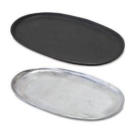 Vintage Plate スクエアプレート ≪オーバル≫ 26cm 小物入れ アンティーク トレイ シルバー ブラック 【あす楽対応】