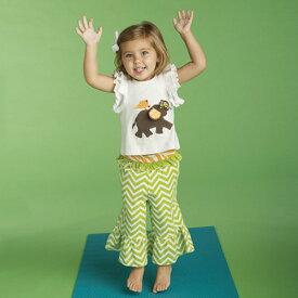 Mudpie マッドパイ ベビー ELEPHANT Tシャツ &ヨガパンツ セット ≪ぞうさん≫ (0〜6カ月) 0-6M Fold Over Yoga Pant Set ベビー服 【あす楽対応】【贈り物】【出産祝い】【女の子】