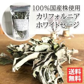 ホワイトセージ 国産 100%国産株 浄化 セージ お香 ハーブ セージの葉 送料無料