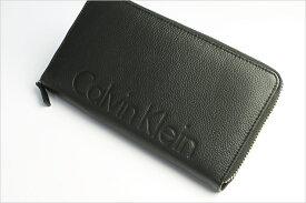 あす楽 Calvin Klein カルバンクライン 財布 メンズ 長財布 本革 レザー ロゴ ブランド ブラック ラウンドファスナー さいふ サイフ Men's ウォレット