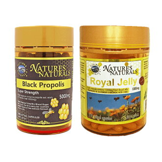 For royal jelly 1,000 mg approximately six months for (180 tablets/case) and black propolis 5,000 mg approximately 100 days (100 tablets/case). It is with a selectable supplement (seven tablets) present. The blessing set from two bees.