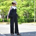 ウエスト切替ワイドキャミサロペット(ブラック) プチプラ レディースファッション ウエスト切替 サロペット 体型カ…