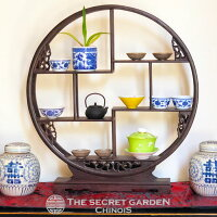 シノワズリ珍品棚木製丸型大中国家具茶器飾り棚円形