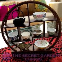 シノワズリ珍品棚木製丸型小中国家具茶器飾り棚円形