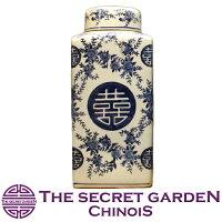 青白陶器蓋付壷大飾り壺THE-SECRET-GARDENシノワズリ