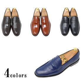 ハンドメイド 本革 メンズ カラー ローファー スリッポン ローファー マッケイ製法 ビジネス カジュアル ビジカジブラック ダークブラウン ライトブラウン ネイビー革靴 靴 手作り靴 紳士靴
