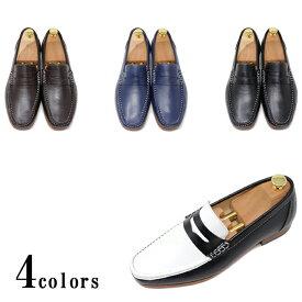 ハンドメイド 本革 ローファー スリッポン マッケイ製法 メンズ カジュアル ビジネス ビジカジ ブラック ブラック&ホワイト ダークブラウン ネイビー 紳士靴 衣装靴 パーティー 手作り靴