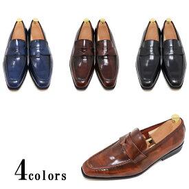 ハンドメイド 本革 スクエアトゥ メンズ イタリアン ローファー スリッポン マッケイ製法 スムース 革靴 ブラック ダークブラウン ライトブラウン ネイビー アドバン仕上げビジネスシューズ カジュアル ビジカジ 紳士靴 手作り靴