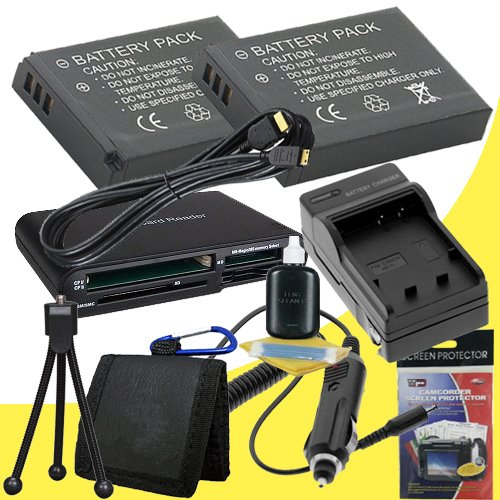 TWO PS-BLS1 Lithium イオン リプレイスメント Batteries + Memory Card リーダー/ウォレット + Deluxe スターター キット w/Charger for Olympus ペン E-P3 E-PL1 E-P2 デジタル SLR Cameras DavisMAX アクセサリー EPL1 EP2 EP3 バンドル 「汎用品」(海外取寄せ品)