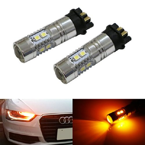 iJDMTOY (2) アンバー イエロー Error Free PWY24W LED Bulbs For Audi A3 A4 A5 Q3 VW MK7 Golf CC Ford フュージョン フロント Turn Signal ライト, BMW F30 3 Series DRL ランプ (海外取寄せ品)