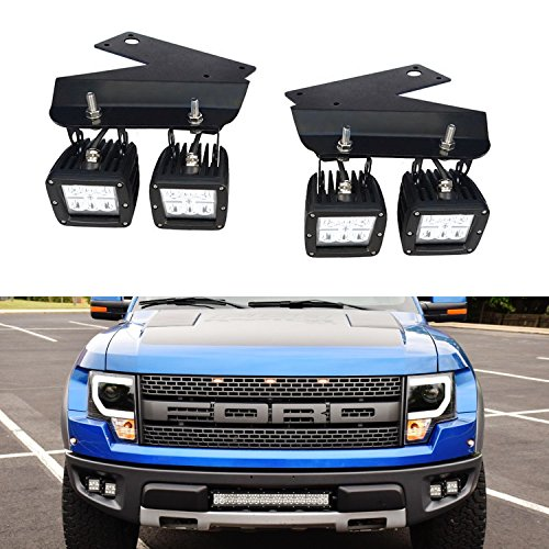 iJDMTOY (4) 24W ハイ Power Dually 2x3 LED Pod ライト w/ Lower Bumper Opening Area Mounting Brackets & On/オフ Switch リレー For 2010-2014 Ford F-150 ラプター (海外取寄せ品)