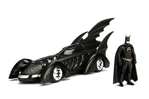 Jada Toys DC コミック 1995 フォーエバー: Batmobile with バットマン Batman メタル Die-キャスト Collectible Toy Vehicle with Figure (2 Piece), マット ブラック, 1:24 Scale (海外取寄せ品)