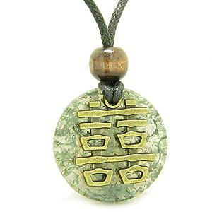 Double Happiness Feng Shui Amulet Fortune Powers グリーン Moss Agate コイン Medallion ペンダント ネックレス (海外取寄せ品)