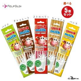 選べる5袋セット【クイックミルク】クリックポスト フェルフォルディ 粉末清涼飲料 牛乳 チョコレート 牛乳ストロー 牛乳が苦手 ストロ— 飲料 ボン商会 輸入 輸入飲料