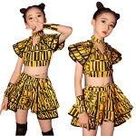 ダンスダンス衣装セットアップチアガールガールズ女の子キッズダンスパンツセットスカートセットアウタージャッズ韓国風ヒップホップストリートへそ出し上下演出服キッズダンスウェアジュニアショートパンツパンツフレンジjazzDJオシャレ