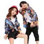 キッズダンス衣装ヒップホップダンス衣装ゆるシャツシャツトップスキッズダンス衣装韓国かっこいい男の子男女兼用hiphop女の子sale激安買得