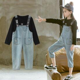 0b77497ccbab4 セットアップ 韓国子供服 サロペット シャツ 女の子 子供服 キッズ 無地 トップス 長袖 2点セット