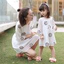 親子 ペア ワンピース シフォン フリル 刺繍 お姫様 親子ペア 娘とママお揃い キッズ ワンピース お揃い 親…